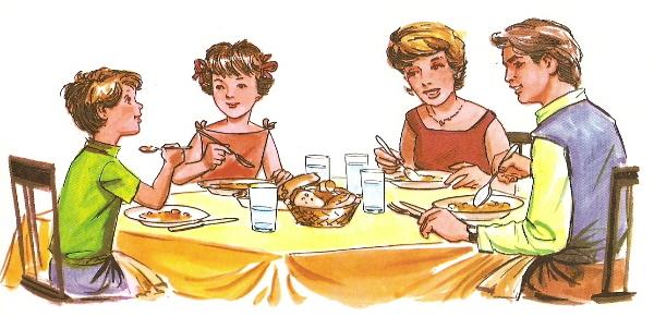Dibujos de familia almorzando  Imagui